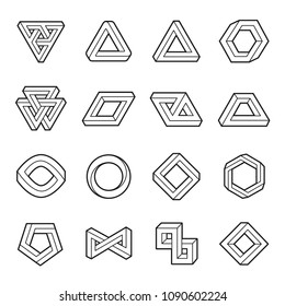 Set of impossible shapes. Web design elements. Optical Illusion. Line design. Vector illustration EPS 10