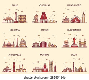 Set of Indian cities skylines. Mumbai, Delhi, Jaipur, Kolkata, Hyderabad, Ahmedabad, Pune, Chennai, Bangalore. Trendy vector illustration, linear style.