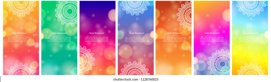 Set of Indian country ornament illustration concept. Ethnic & Colorful Henna Mandala design, on festive and glitter bokeh background