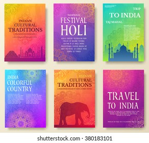 Set of Indian country ornament illustration concept. Art traditional, book, poster, abstract, ottoman motifs, element. Vector decorative ethnic greeting card or invitation design background.