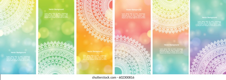 Set of Indian country ornament illustration concept. Colorful Mandala design, on festive and glitter bokeh background.