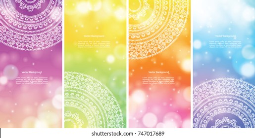 Set of Indian country ornament illustration concept banners. Ethnic & Colorful Henna Mandala design, on festive and glitter bokeh background.