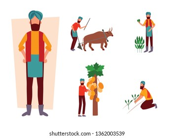 Set of Indian farmer and his work activity in field flat cartoon style, vector illustration isolated on white background. Man plowing farmland with ox and holding agricultural plants