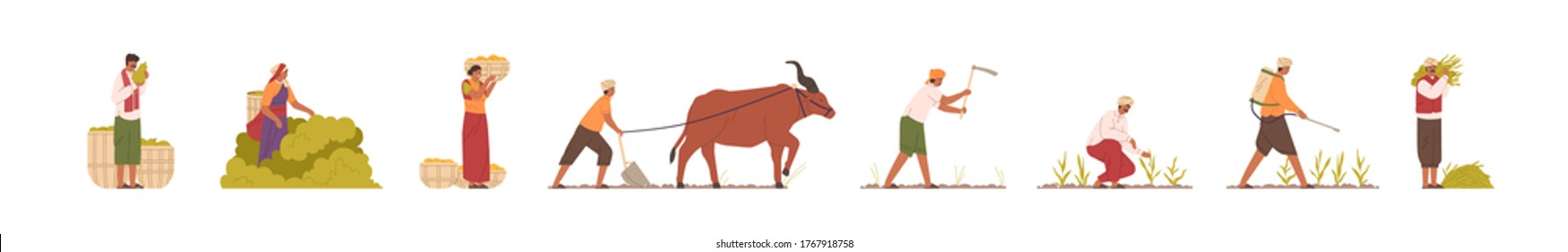 Set of Indian farmers in traditional clothes vector flat illustration. Collection of rural man and woman plowing field by cow, collect, carry, watering and mowing harvest. Agricultural workers