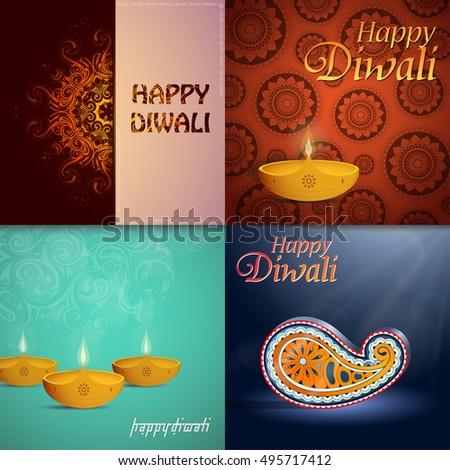Set indian festival diwali greeting cards stock vector royalty free set of indian festival diwali greeting cards m4hsunfo