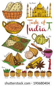 Set of Indian food and ingredients, vector