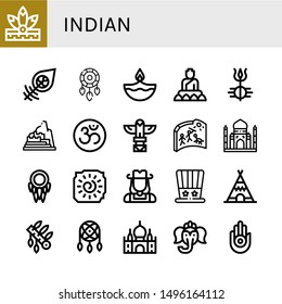 Set of indian icons such as Native american, Dreamcatcher, Diwali, Buddha, Shiva, Machu picchu, Om, Totem, Cave painting, Taj mahal, Cowgirl, Independence day, Teepee , indian