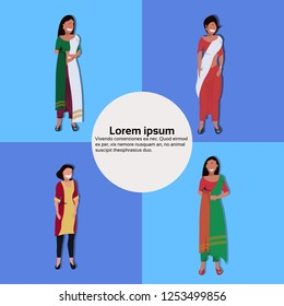 set indian woman bindi standing pose national traditional clothes female cartoon character collection full length copy space flat vector illustration