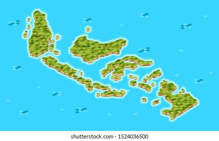 set of Indonesian archipelago isometric maps consist of many big and small island. editable vector and color so you can use every unit of it - vector