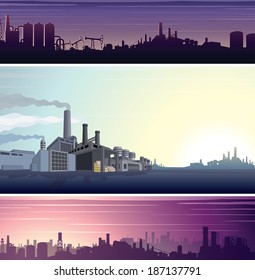 Set of Industrial Backgrounds, Banners. Three Vector Templates Ready for Your Text and Design.
