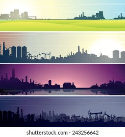 Set of Industrial Backgrounds for Web Banner. Vector Templates Ready for Your Text and Design