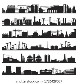 Set of industrial city, town view black silhouettes isolated on white. Plant, factory panorama pictograms collection. Pipeline, crane, power tower, equipment vector elements for infographic, web