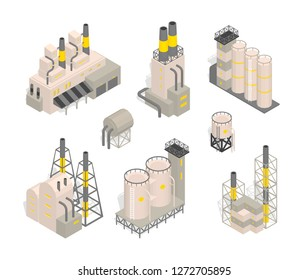 Set industrial factories plant building Isometry vector illustration. Industrial production factory.