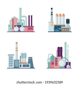 Set of industrial factory and chemical plant buildings isolated on white background. Іcons set colorful illustration in flat style