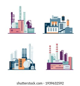 Set of industrial factory and manufacturing buildings isolated on white background. Іcons set colorful illustration in flat style