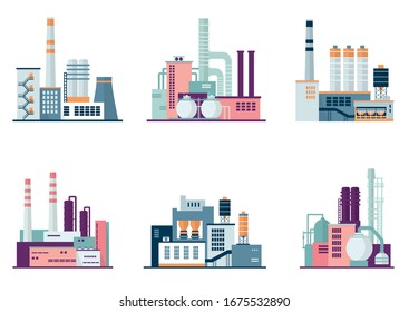Set of industrial factory and plant buildings isolated on white background.  Іcons set colorful illustration in flat style
