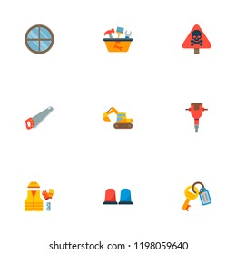 Set of industrial icons flat style symbols with keys, jackhammer, tool in box and other icons for your web mobile app logo design.
