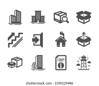 Set of Industrial icons, such as Home, Lighthouse, Technical info, Buildings, Exit, Skyscraper buildings, Stairs, University campus, Send box, Packing boxes, Search package, Open box. Vector