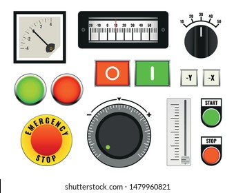 set of industrial machine control panel, knob, switch and slider, vector illustration