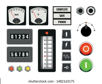 set of industrial machine control panel, knob, switch and counter, vector illustration
