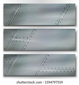 Set of industrial metal banners. Riveted metal plates. Vector illustration.