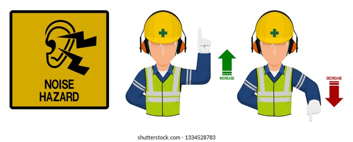Set of industrial worker with hearing protective equipment is gesturing hand sign ( increase,decrease)