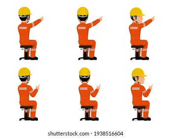 set of industrial worker is pointing to something