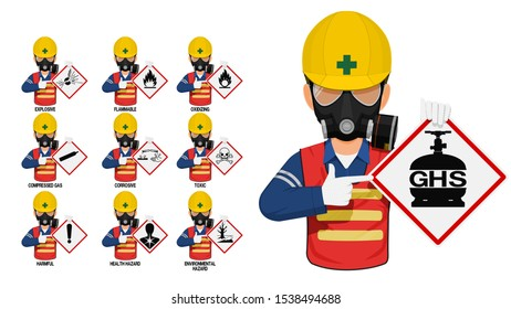 Set of industrial worker is presenting  the GHS pictograms.