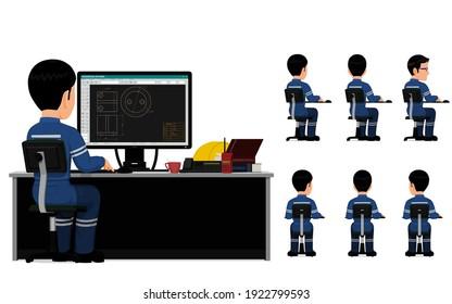 set of industrial worker is working on his desk