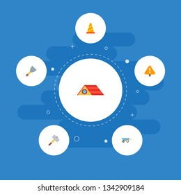 Set of industry icons flat style symbols with putty knife, warning cone, brick hammer and other icons for your web mobile app logo design.