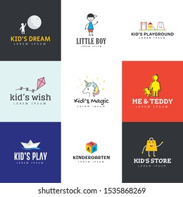 Set of infants logo vectors designed to promote business. Create your own logo for child related projects. This pack involves everything you wish for your relevant niche. Download now