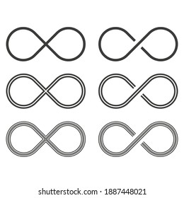 Set of Infinity icon. Vector illustration in flat design