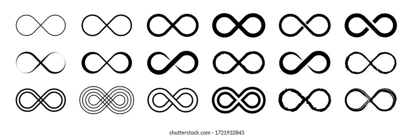 Set of infinity icons. Unlimited infinity, endless, logos. Vector illustration.