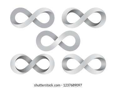 Set of Infinity signs made of different types of torsion. Mobius strip symbols. Vector illustration isolated on a white background.