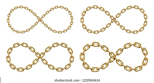 Set of Infinity signs made of golden chains of different widths. Mobius strip symbol. Vector realistic illustration isolated on a white background.