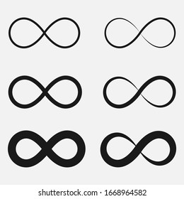 Set of infinity symbol black and white vector icon.