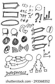 set of info chart doodle