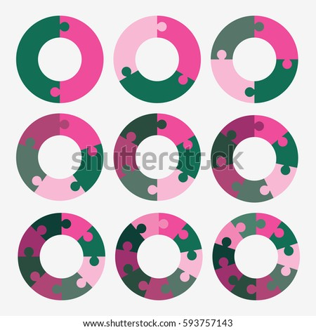 Set Info Template Pie Pink And Green Charts With 2 3 4 5
