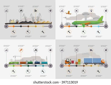 Set of the infoghrphic elements. Transportation by water, by air, by train. Flat illustration.