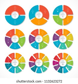 Set of infographic circles with 2, 3, 4, 5, 6, 7, 8, 9, 10 options. Can be used for graph, diagram, presentation, report, step options, web design.