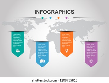 Set of infographic design template with banners, stock vector