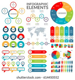 Set of infographic elements . Circle, pie chart, world map, arrow, timeline, pointer, text bubble, diagram, graph vector templates.