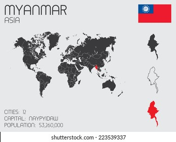 A Set of Infographic Elements for the Country of Myanmar