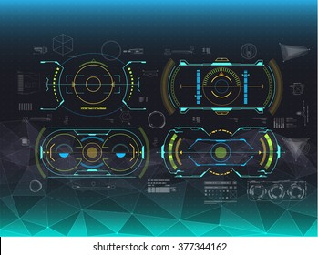 set of infographic elements. Head-up display navigation elements for the web and app. Futuristic user interface. Virtual graphic.