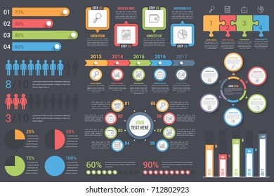 Set of infographic elements on dark background - bar graphs, human infographics, pie charts, steps and options, workflow, puzzle, percents, circle diagram, timeline, vector eps10 illustration