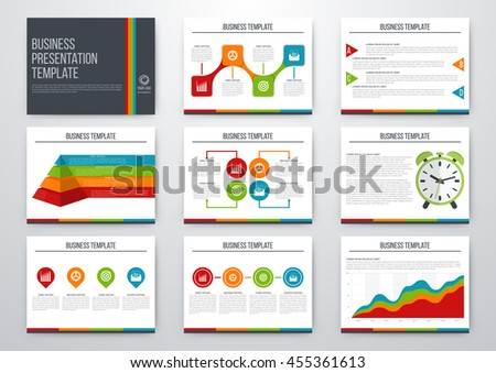 set infographic elements presentation template book stock vector