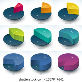 Set of infographic isometric pie chart templates. Share of 10, 20, 30, 40, 50, 60, 70, 80 and 90 percent. Vector illustration.