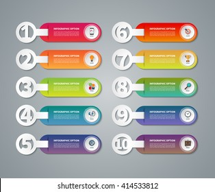 Set of infographic numbered banners. One, two, three, four, five, six, seven, eight, nine, ten options, parts, steps, stages, processes. Vector template with business icons and design elements
