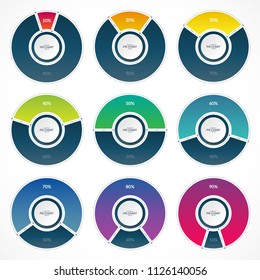 Set of infographic pie chart circles in thin line flat style. Share of 10, 20, 30, 40, 50, 60, 70, 80 and 90 percent. Vector illustration