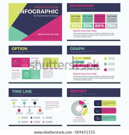 set infographic presentation template powerpoint modern のベクター